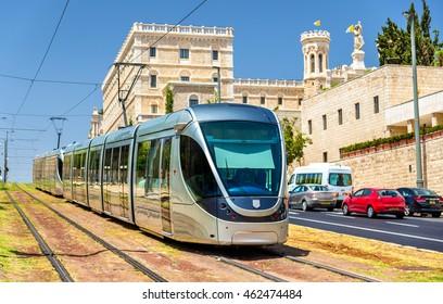 Tram on the light rail in Jerusalem - Israel
