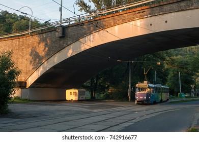 Tram on streets of Brno Czech republic