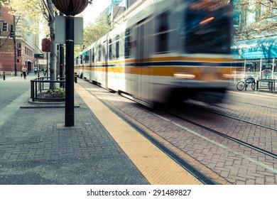 Tram on streets of Sacramento, CA, USA - spring 2015