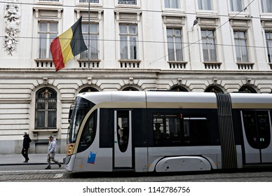 Tram on its way in central street of Brussels, Belgium on March 24, 2016