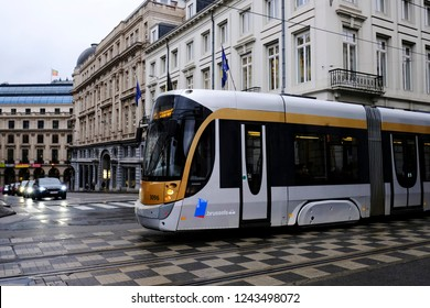 Tram on its way in central street of Brussels, Belgium on Nov. 28, 2018