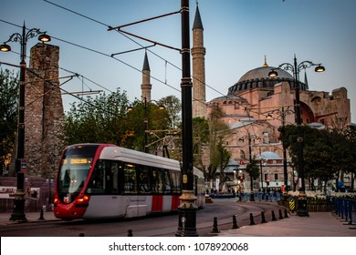Tram passing in front of Istanbul's historic Haghia Sophia museum on April 17, 2018 ISTANBUL/TURKEY