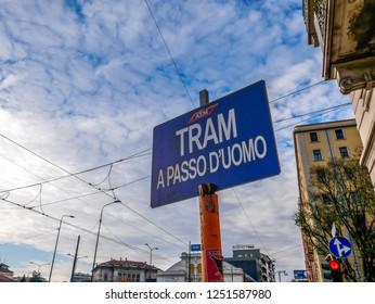 Tram Sign in Milan,Italy-November 2018