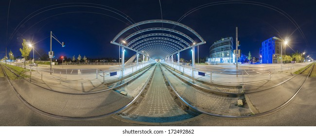 Tram stop in Hanover. Evening 360 degree panorama.