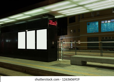 Tram stop at night. Place for text. Bus stop. Urban transport. Mock up. Mockup.