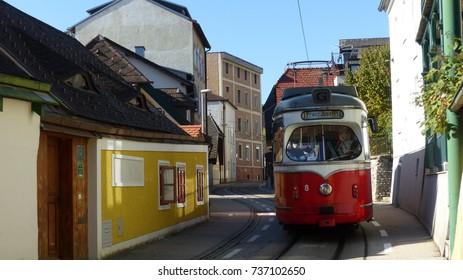 Tram in the streets of Gmunden near Traunsee, Austria