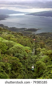 A tram takes visitors through a jungle near Lake Arenal, Costa Rica