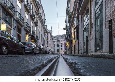 Tram track in the 'Trindade' stree in Lisbon