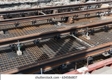 Tram tracks construction