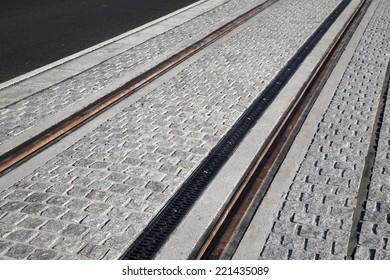 Tram Tracks in Dublin, Ireland