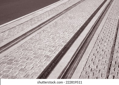 Tram Tracks in Dublin, Ireland in Black and White Sepia Tone