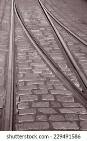 Tram Tracks in Helsinki, Finland in Black and White Sepia Tone