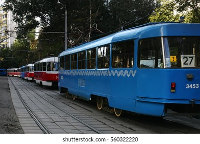 A tram traffic jam. Russia, Moscow, August 2016.