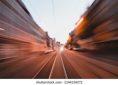 Tram Ulm longtime exposure at night