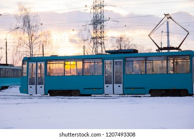 tram in winter in the city. electricity.