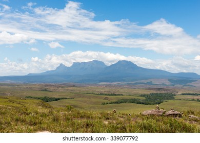 Tramen, Ilu and Karaurin tepuys (table-top mountains) in Canaima National Park, Venezuela