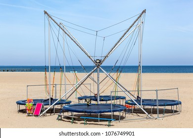 Trampoline-Bungee on the beach in Travemuende, Germany