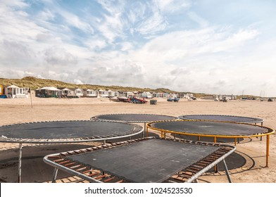 trampolines placed on the beach