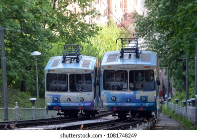 Trams of the Kiev funicular. Kiev Ukraine. May 2,2018