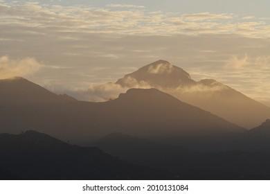 Tramuntana mountains on Mallorca with morning mist