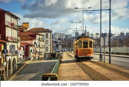 Tramway car in Oporto, Portugal