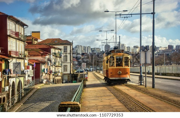 Tramway car in Oporto, Portugal
