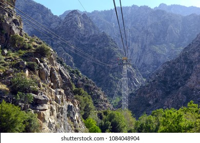 Tramway structure in Palm Springs under Mount San Jacinto which is an engineering marvel, and carries passengers from the desert into the mountains, California