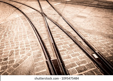 Tramway tracks in Lisbon, Portugal.