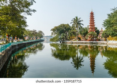 Tran Quoc Pagoda, the oldest Buddhist pagoda in Hanoi. Quan Tay Ho (Westlake district), Hanoi, Vietnam.
