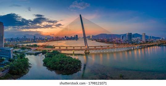 Tran Thi Ly bridge at sunset of Da Nang city, Vietnam. Near Golden bridge on Ba Na hills. Da Nang is the most livable tourist city in Vietnam
