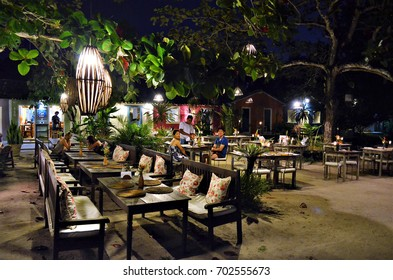 """Trancoso, Bahia, Brazil - August 9, 2016: Restaurants and shops in the area known as """"Quadrado"""" (Square) in the historical center of Trancoso."""