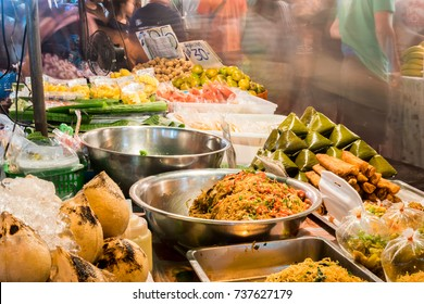 Tranditional strret foods in Kad Luang night maket in Chiangmai province, Thailand.