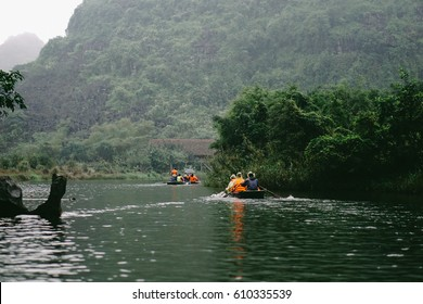 Trang An, Ninh Binh - Mar 19, 2017 - Trang An landscape complex has been recognised as UNESCO World Heritage site. Three hours discovering nature on boat with a spectacular view of limestone karst