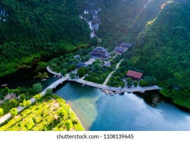 Trang An eco-tourist complex site in Ninh Binh, Vietnam