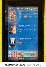 Trang, Thailand, 27 october 2019 - Movie showtime on screen such as Maleficent 2, Terminator dark fate, Bike man 2 display at sf cinema city theater