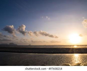 TRANG THAILAND : beautiful twilight seascape at sunset time