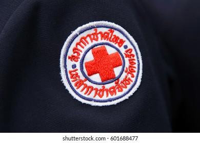 Trang, Thailand - December 1, 2015: Trang Redcross Symbol on shirt at Trang Red Cross Office in Muang Distric.