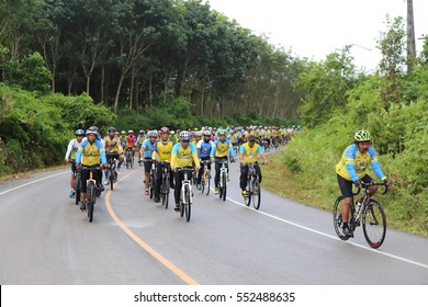 Trang, Thailand - December 27, 2015: Group of bicycles lead by Trang Governor (Center) Mr.Dejrath Simsiri during bike for health and tourism promote in Nayong Distric.