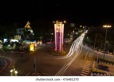 Trang, Thailand - December 4, 2015: Trang Clock Tower at night top view. Trang Clock Tower is landmark of Trang City. Trang City is one of attractive place for travellers.