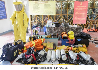 Trang, Thailand - Febuary 23, 2016: Oxygen tank and life rescue equipment display at Battalion infantry 4th department 5th located in Muang Distric.
