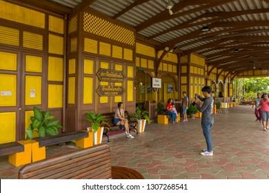 Trang, Thailand - January 1,2019 : People waiting to board a train at Kantang railway station in Trang, Thailand on January 1,2019.