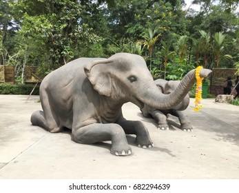 TRANG, THAILAND, July 03, 2016 : Elephant statue at Trang Andaman Gateway.
