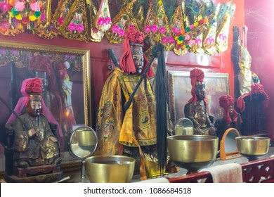Trang, Thailand - MAY 8, 2018: Statue of Tam Kong Yia chinese god in Tam Kong Yia Shrine. The famous place traveler come to pray for success and good health.