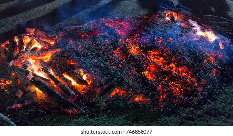 Trang, Thailand - November 1, 2017: Holy bonfire for people to firewalk at Tai-sia-hood-jow Trang Shrine located in Muang Distric.