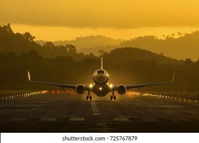 Trang, Thailand - October 1, 2017 : Nok Air Boeing 737-800 take-off at Trang airport.