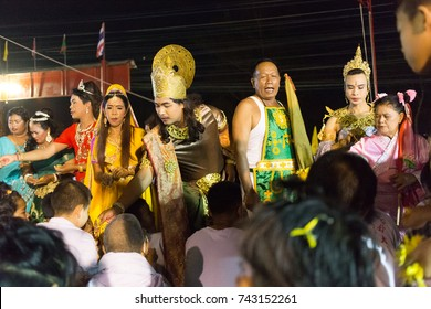Trang, Thailand - October 27, 2017: Chinese God spiritual medium bless people at Tai-Sia-Hood-jow Trang shrine during vegetarian festival.