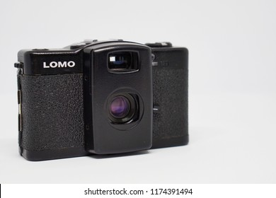 Trang, Thailand - September 8, 2018 : a photo of classic Lomography 35mm film camera called Lomo LC-A+. It came with Minitar-1 glass lens and solid metal body. It made from China.