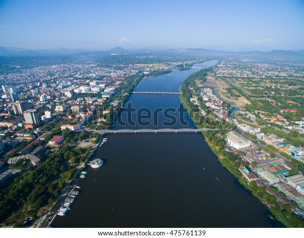 Trang Tien bridge from above in Hue, Vietnam