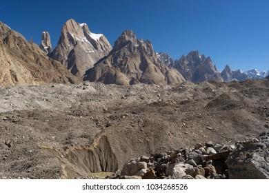Trango tower family in Karakoram range, K2 trek, Pakistan, Asia