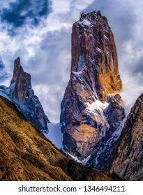 The Trango tower in the Karakorum mountains range in the Pakistan